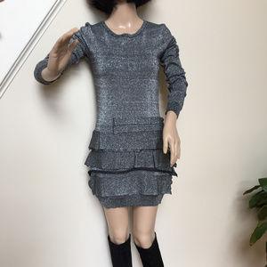 BCBG silver black ruffle sweater mini dress